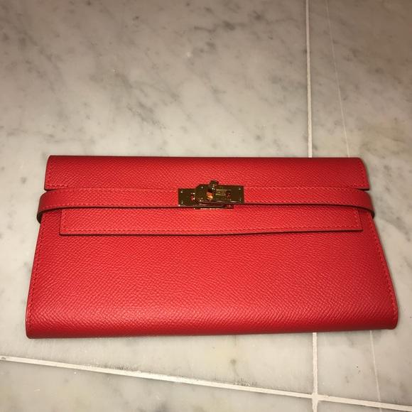 30fb01c29de8 Hermes Kelly long Wallet clutch rouge tomate